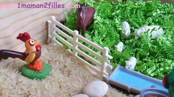 1maman2filles activité bac sensoriel la ferme 6