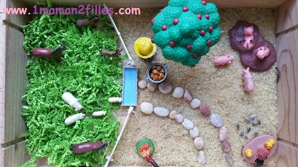 1maman2filles activité bac sensoriel la ferme