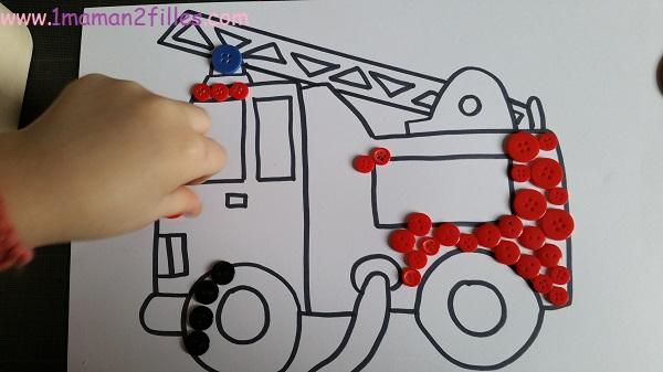 1maman2filles activités manuelles pompier camion 1