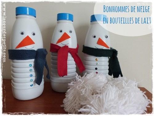 bonhomme de neige en bouteille de lait