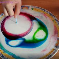 Petite expérience scientifique pour les enfants avec du lait